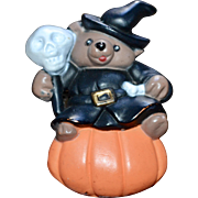 Signed Halloween Witch Bear w/ Skull & Pumpkin Pin