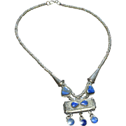 Silvered Brass Ethnic Lapis Lazuli Heart Boho Statement Necklace