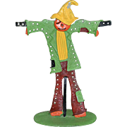 Unusual Painted Metal Scarecrow Earring Holder