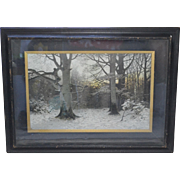 """Circa 1893 """"Christian Evening in the Forest"""" Art Engraving by Muller-Kurzwelly in Original Antique Shadowbox Frame"""