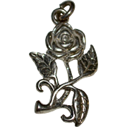 Sterling Silver Long Stem Rose Charm or Pendant