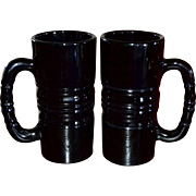 Indiana Glass Tiara Set of 2 Black Glass Huge & Heavy Mugs