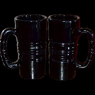 Indiana Glass Tiara Set of 2 Black Glass Huge & Heavy Mugs