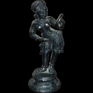 Circa 1890s Patinated Bronze Hindu Deity Dancing Goddess Sculpture