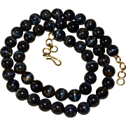 Dark Blue Tiger Eye Stone Bead Necklace