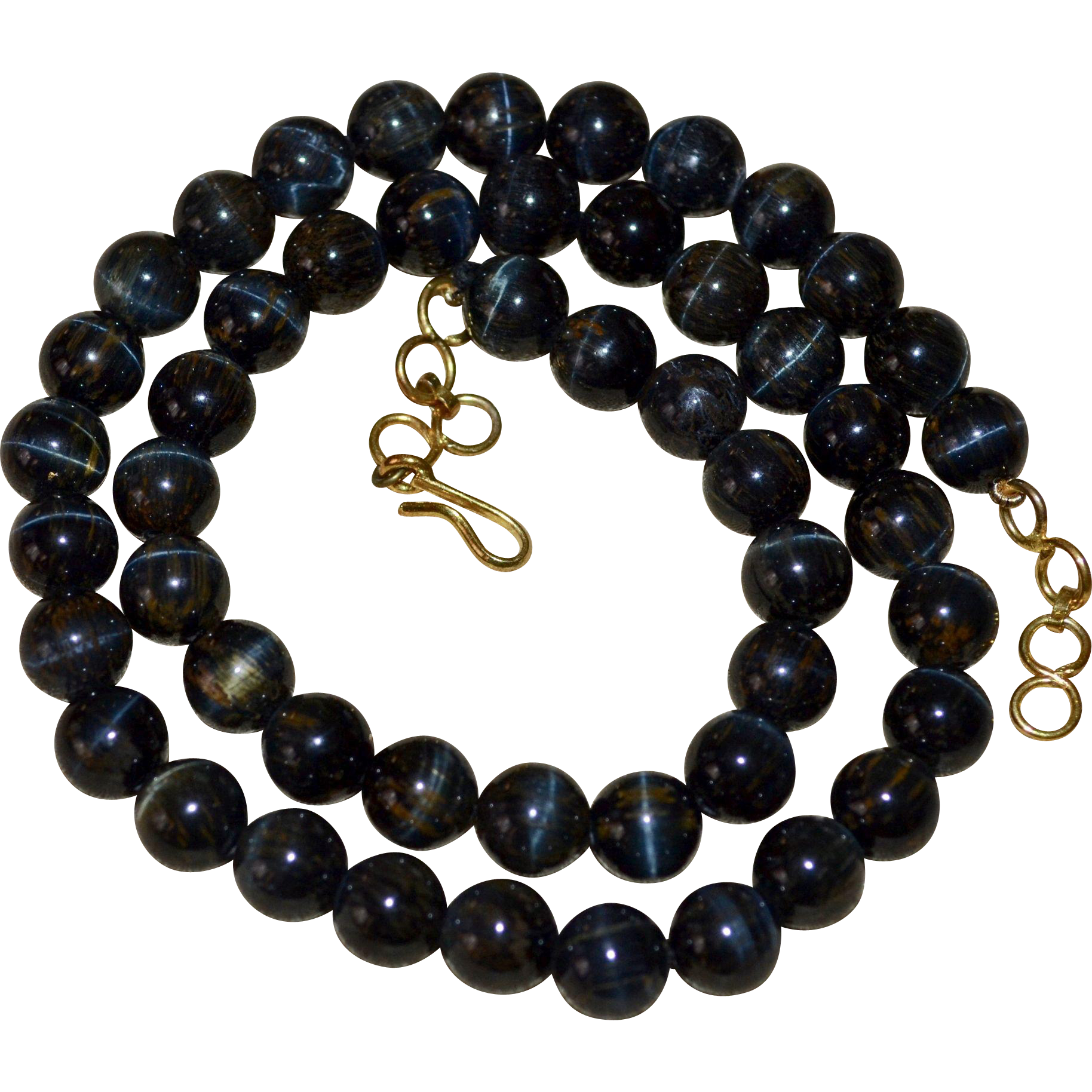Dark Blue Tiger Eye Stone Bead Necklace From