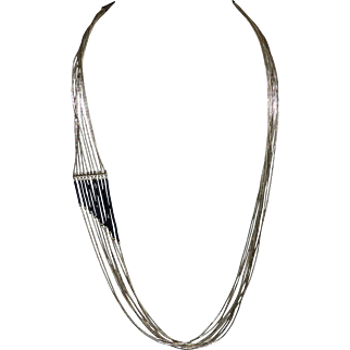 Liquid Sterling Silver Black Onyx Multi-Strand Necklace
