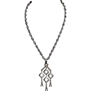 Crown Trifari Modernist Chandelier Pendant Silvertone Tassel Necklace
