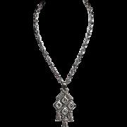 Crown Trifari Modernist Chandelier Pendant Silvertone Tassel Necklace