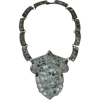 Signed 950 Mexican Silver & Crushed Turquoise Massive Face Pendant Statement Necklace