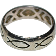 Sterling Silver Christian Fish Wide Band Ring ~ Size 7 3/4
