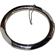 Sterling Silver Black Onyx and Mother of Pearl Bangle Bracelet