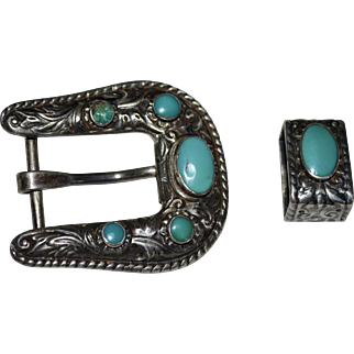 Signed BELL Sterling Silver Southwestern 2-Pc Turquoise Glass Belt Buckle Accessory
