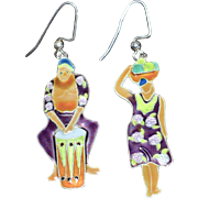 Large Ethnic Style Enamel Dangle Pierced Earrings