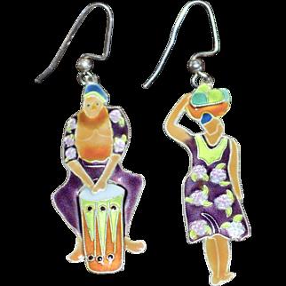 Large Ethnic Style Enamel Dangle Pierced Earrings