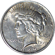 Circa 1923 Lady Liberty Circulated Silver Peace Dollar