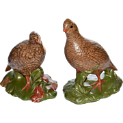Holland Mold Large Hand-Painted Pair of Ceramic Quail Sculptures