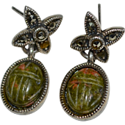 Sterling Silver & Carved Jasper Scarab Marcasite Pierced Earrings