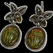 Sterling Silver & Carved Jasper Scarab Marcasite Pierced Earrings