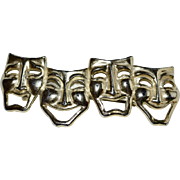 """Large 4"""" Comedy & Tragedy Theatre Mask Gold Hair Barrette"""