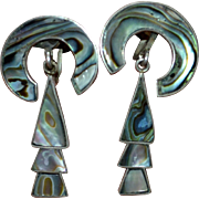 1930s Los Arcos Taxco Sterling Silver & Abalone Shell Screwback Earrings