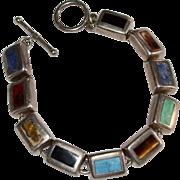 Sterling Silver Multi-Gemstone Inlay Block Toggle Bracelet