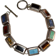Sterling Silver Multi-Gemstone Inlay Block Toggle Bracelet