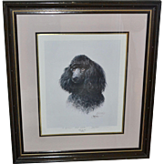 "Huge 31"" Signed James H. Killen 'THAT'S MY DOG!' Black Poodle Art Print Inscribed in Wood Frame"