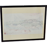 Circa 1965 Frank Lloyd Wright THE WAVE Art Print in Black Metal Frame