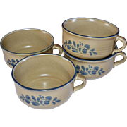 Pfaltzgraff Folk Art Set of 4 Soup Bowl w/ Handle Ceramic Pottery Mugs