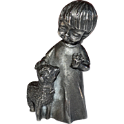 Ampersand Pewter Hippie Girl with Flower & Lamb Heavy Paperweight