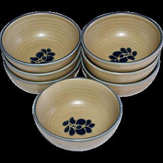 Pfaltzgraff Folk Art Set of 7 Cereal or Soup Ceramic Pottery Bowls