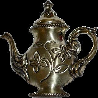 Beau Sterling Silver Fancy Teapot Brooch/Pin