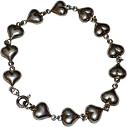 Sterling Silver Puffy Heart Link Bracelet