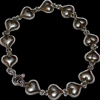 Sterling Silver Puffy Heart Link Bracelet