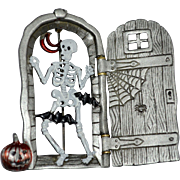 Signed JJ Jonette Jewelry Halloween Skeleton w/ Moving Door Enamel & Pewter Pin/Brooch