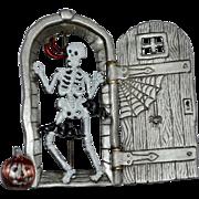 Signed JJ Jonette Jewelry Halloween Skeleton w/ Moving Door Enamel & Pewter Pin/Brooch