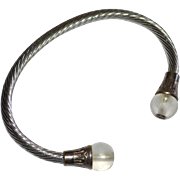Sterling Silver Cuff Bracelet w/ Frosted Glass Beads