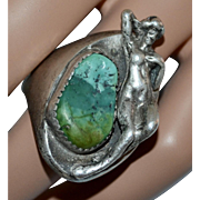 Large Artisan Sterling Silver Nude Nymph Lady Blue/Green Turquoise Men's Ring ~ Size 10.5