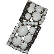 Circa 1930s Heavy White Milk Glass & Rhinestone Brooch/Pin