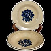 Pfaltzgraff Folk Art Castle Mark Set of 3 Rim Soup Ceramic Pottery Bowls