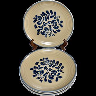 Pfaltzgraff Folk Art Castle Mark Set of 4 Ceramic Pottery Dinner Plates