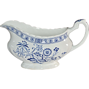 J&G Meakin Blue Nordic Onion White Classic Ironstone Ceramic Gravy Boat