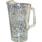 Hazel Atlas Spaghetti String White Drizzle Heavy Glass Pitcher