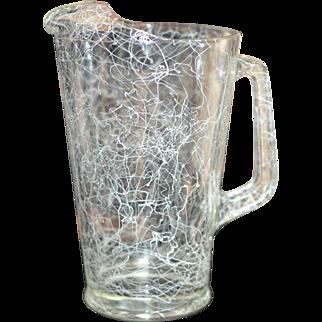 Hazel Atlas Spaghetti String White Drizzle Heavy Glass Pitcher