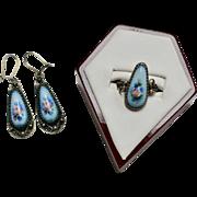 Russian Blue Porcelain Pink Rose German Silver Dangle Earrings & Ring
