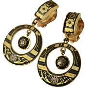 Gold Plated Black Enamel Damascene Hoop Dangle Clip Earrings