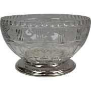 Brilliant Cut Glass Serving Bowl Silver Plate Footed Centerpiece