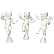 Set of 3 WILTON Winged White Cherub Candle Holder Cake Toppers