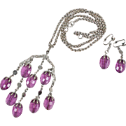 "Sarah Coventry ""Wisteria"" Amethyst Purple Waterfall Necklace / Earrings Set"